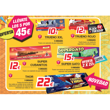 Oferta Truenos: XXL, Supercubanitos, Trueno Rojo, Super Gato y Thor